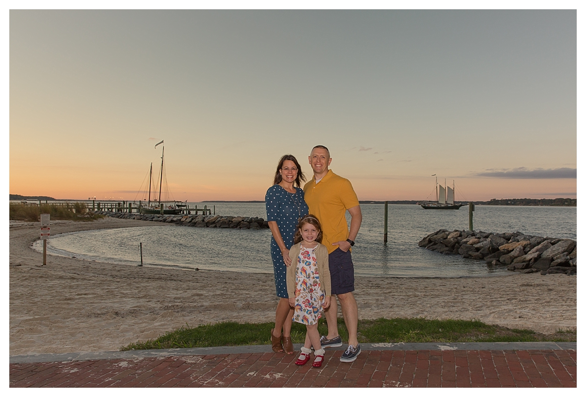 family Yorktown beach lularoe sunset boats